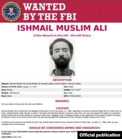 La ficha de Ishmail Muslim Alí en el FBI. www.fbi.gov