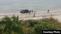 Llegada de balseros cubanos a Key Biscayne, en la Florida.