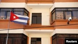 Vista de la fachada de la embajada de Cuba en La Paz, Bolivia.