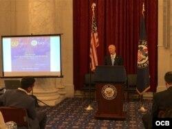 El senador republicano Rick Scott habló sobre la crisis en Venezuela. (Foto: Michelle Sagué)