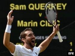 Cilic celebra su victoria sobre Querrey en Wimbledon.