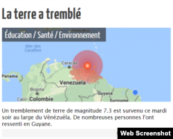 Titular del diario de la Guyana francesa.