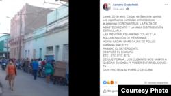 Una publicación en redes sociales del activista Adriano Castañeda /Facebook