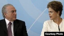 Dilma y Michel Temer, líder del Partido del Movimiento Democrático Brasileño, parte de la coalición de gobierno.