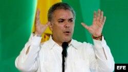 El presidente de Colombia, Iván Duque, habla durante la instalación del Congreso Anual de Confecámaras.