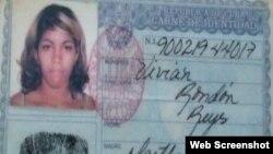 Carnet de identidad de Vivian Rondón Reyes.