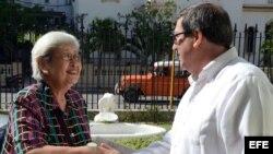 La experta de la ONU para los derechos humanos y solidaridad internacional, Virginia Dandan, se reúne con el canciller cubano, Bruno Rodríguez.
