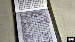 Vista de una libreta de racionamiento, símbolo de la escasez de alimentos y las dificultades económicas en Cuba