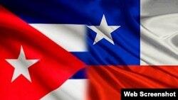 Las banderas de Chile y Cuba.