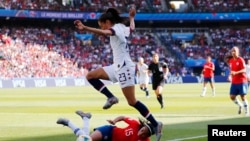 Mundial femenino partido EEUU contra Chile.