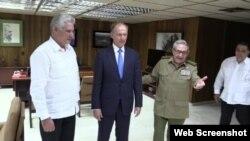 Díaz-Canel, Patrushev y Raúl Castro.