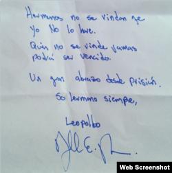 LilianTintori luego de su visita ayer a Leopoldo López tambien publicó mensaje del líder a los venezolanoso López