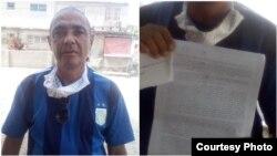 Waldo Hernández Batista del FANTU muestra acusación /Foto cortesía de Irenaldo Sosa