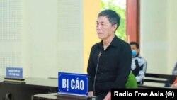 Tran Duc Thach en el juicio en Hanoi el 24 de marzo de 2021. (Radio Asia Libre).