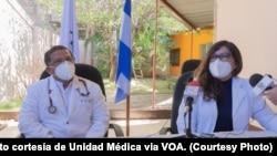 Miembros de la Unidad Médica Nicaragüense en conferencia de prensa. Foto cortesía de Unidad Médica.