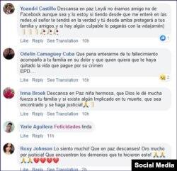 Comentarios en Facebook por la muerte de Leydi Fontes.