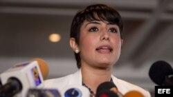 La esposa del opositor Venezolano y preso político Daniel Ceballos, Patricia Gutiérrez.