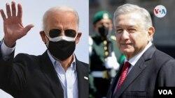Composición del presidente de EE.UU., Joe Biden, a la izquierda, y de su homólogo de México, Andrés Manuel López Obrador, quienes conversarán de manera virtual el 1 de marzo de 2021.