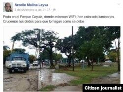 Reporta Cuba. Parque Coyula, nueva área para conexión Wi-Fi. Foto: Arcelio Molina.