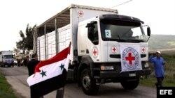 Fotografía de archivo de un camión de la Cruz Roja en Siria.