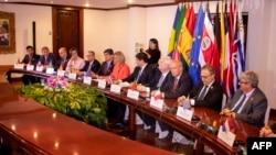 La jefa de la diplomacia de la Unión Europea, Federica Mogherini, preside reunión del Grupo Internacional de Contacto en Costa Rica. (Archivo, AFP).
