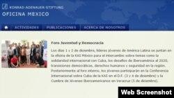 La Fundación Konrad Adenauer promueve el Foro Juventud y Democracia en su página web.