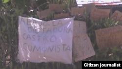 Reporta Cuba carteles como forma de protesta Alezander Rdguez