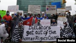Protesta de cubanos en la ONU.