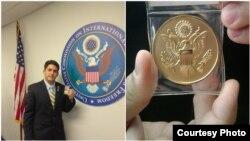 Félix Yuniel Llerena López recibe premio de la Comisión de EEUU para la Libetad Religiosa Internacional.