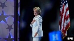 Hillary Clinton, en el último día de la convención demócrata.