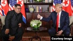 Donald Trump y Kim Jong-Un en el Hotel Capella