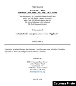 Abogados de UnWatch reclaman a la ONU liberación de Cardet.