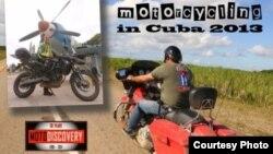 Cartel publicitario dando promoción a la primera vuelta a Cuba en moto para turistas estadounidenses (Foto: MotoDiscovery).