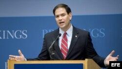 Archivo - Marco Rubio en el instiruro de Brookings, Washington.