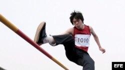 Atleta chino. Foto de archivo