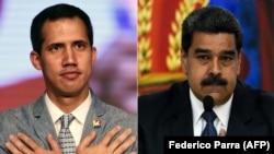 El presidente interino de Venezuela Juan Guaido (izq.) y el gobernante Nicolás Maduro.
