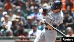Christian Yelich, bateador de los Milwaukee Brewers. (Darren Yamashita-USA TODAY Sports)