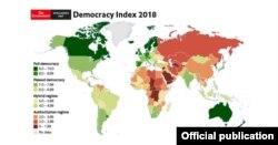 Mapa de Índice de Democracia 2018.