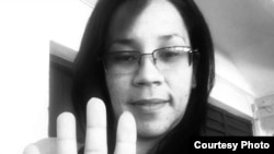 Marthadela Tamayo, en la campaña por el cese de la violencia de género. (Cortesía de la activista)