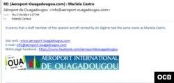 Este e-mail del aeropuerto de Uagadugu a martinoticias explica que aparentemente una tripulante del vuelo AH5017 se llamaba Mariela Castro.