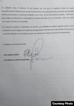 Petición en Asamblea Nacional Cubana / Foto cortesía del OCDH
