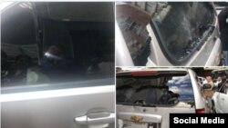 Vehículo donde se transportaba Juan Guaidó