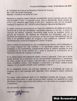 Copia de la carta remitida por Lidier Hernández a la Embajada de Cuba en Uruguay (Tomado de su cuenta de Facebook).