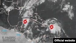 """Cuba enfrenta por los dos extremos de la isla las tormentas tropicales """"Marco"""", en occidente, y """"Laura"""", en el oriente (Detalle de una imagen de satélite tomada a la 1:00 de la tarde del sábado por el Centro Nacional de Huracanes, con sede en Miami)."""