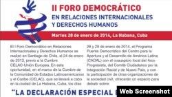 Detalle del cartel que anuncia el II Foro Demcrático en Derechos Humanos