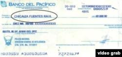Uno de los cheques expedidos a Raúl Chicaiza a través de la Dirección de Inteligencia de la policía ecuatoriana para financiar el secuestro de Fernando Balda.