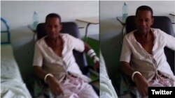 Tomás Núñez Magdariaga, esposado a una silla en la sala de penados del hospital santiaguero donde permanece en huelga de hambre.