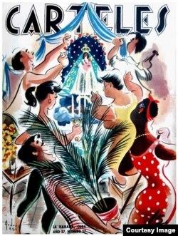 """Portada de la Revista """"Carteles"""" dedicada a la Virgen de la Caridad del Cobre."""
