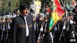 Evo Morales en el acto de conmemoración de los 134 años del inicio de la guerra en la que el país andino perdió su salida al océano. Archivo.