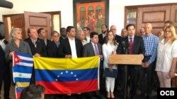 Senador Marco Rubio durante en el encuentro con los exiliados venezolanos, cubanos y colombianos.